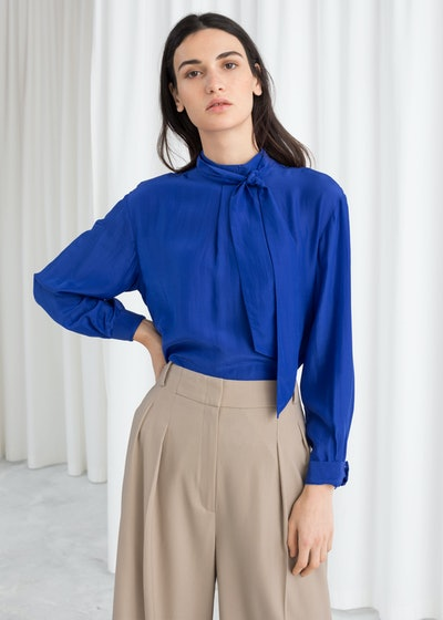 & Other Stories Straight Fit Pussy Bow Blouse