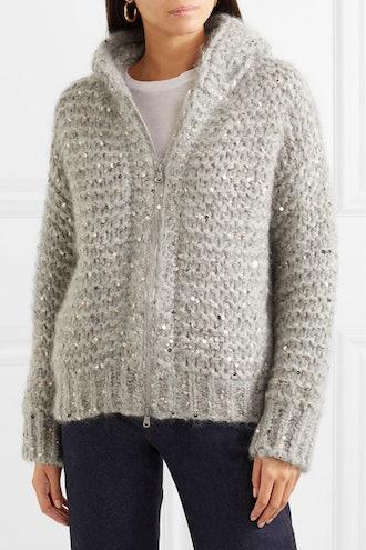 Hooded Sequin-Embellished Mohair-Blend Cardigan
