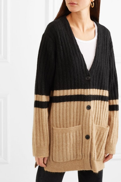 Congoe Striped Knitted Cardigan