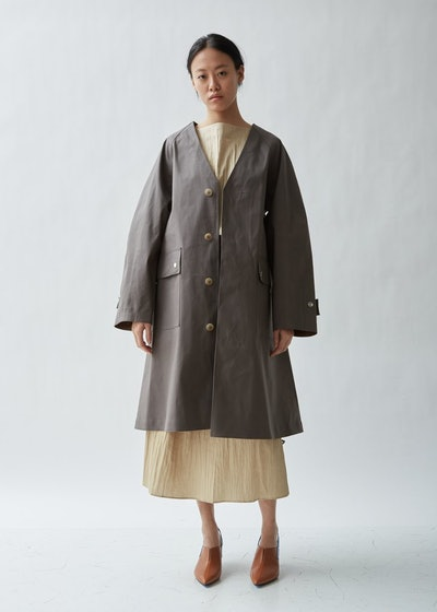 Mackintosh Belted Collarless Trench Coat