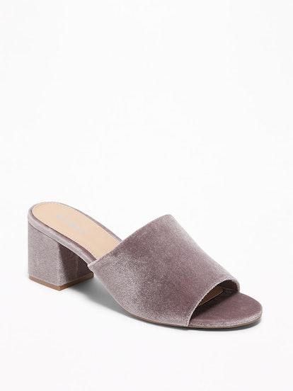 Velvet Block-Heel Mules