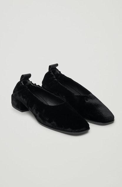 Elastic Velvet Ballerina Shoes