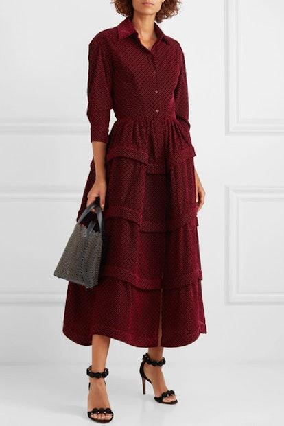 Ruffled Embroidered Velvet Midi Dress