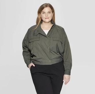 Women's Plus Size Long Sleeve Crop Utility Bomber Jacket - Prologue™ Deep Sea Green