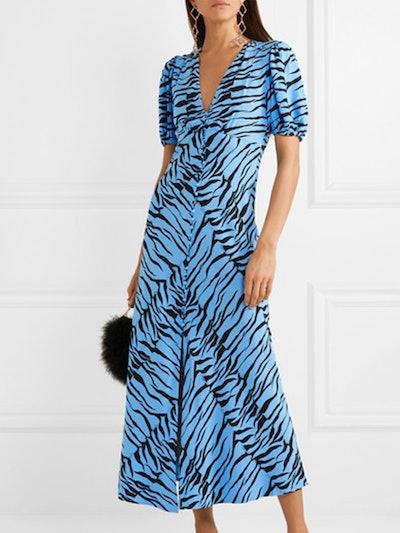 Tonya Printed Crepe Midi Dress