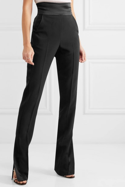 Satin-Trimmed Cady Slim-Leg Pants