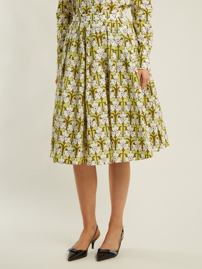 Iris-Print Cotton-Poplin Skirt