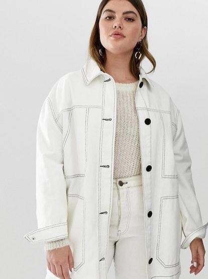 ASOS Design Curve Contrast Stitch Cotton Jacket