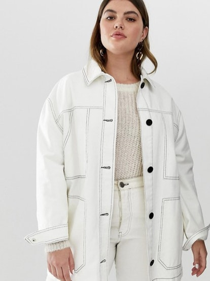 ASOS Design Curve Contrast Stitch Cotton Jacket