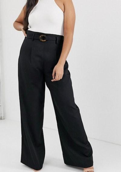 PrettyLittleThing Plus Wide Leg Trouser With Tortoiseshell Ring Belt In Black