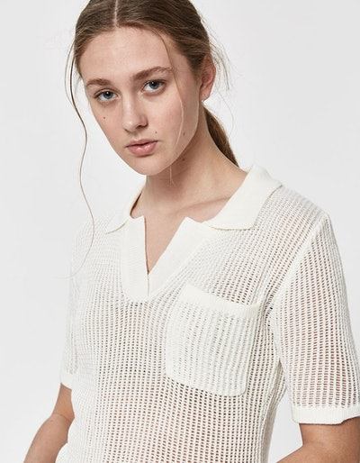 Jeannie Open Knit Polo