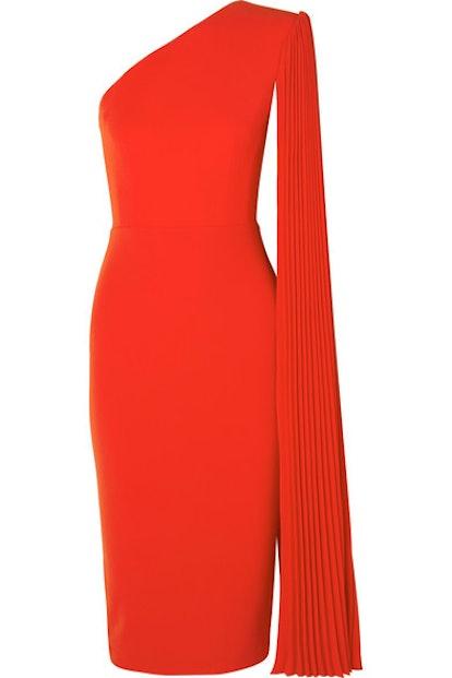 Alex Perry Lorin One-Shoulder Crepe Midi Dress