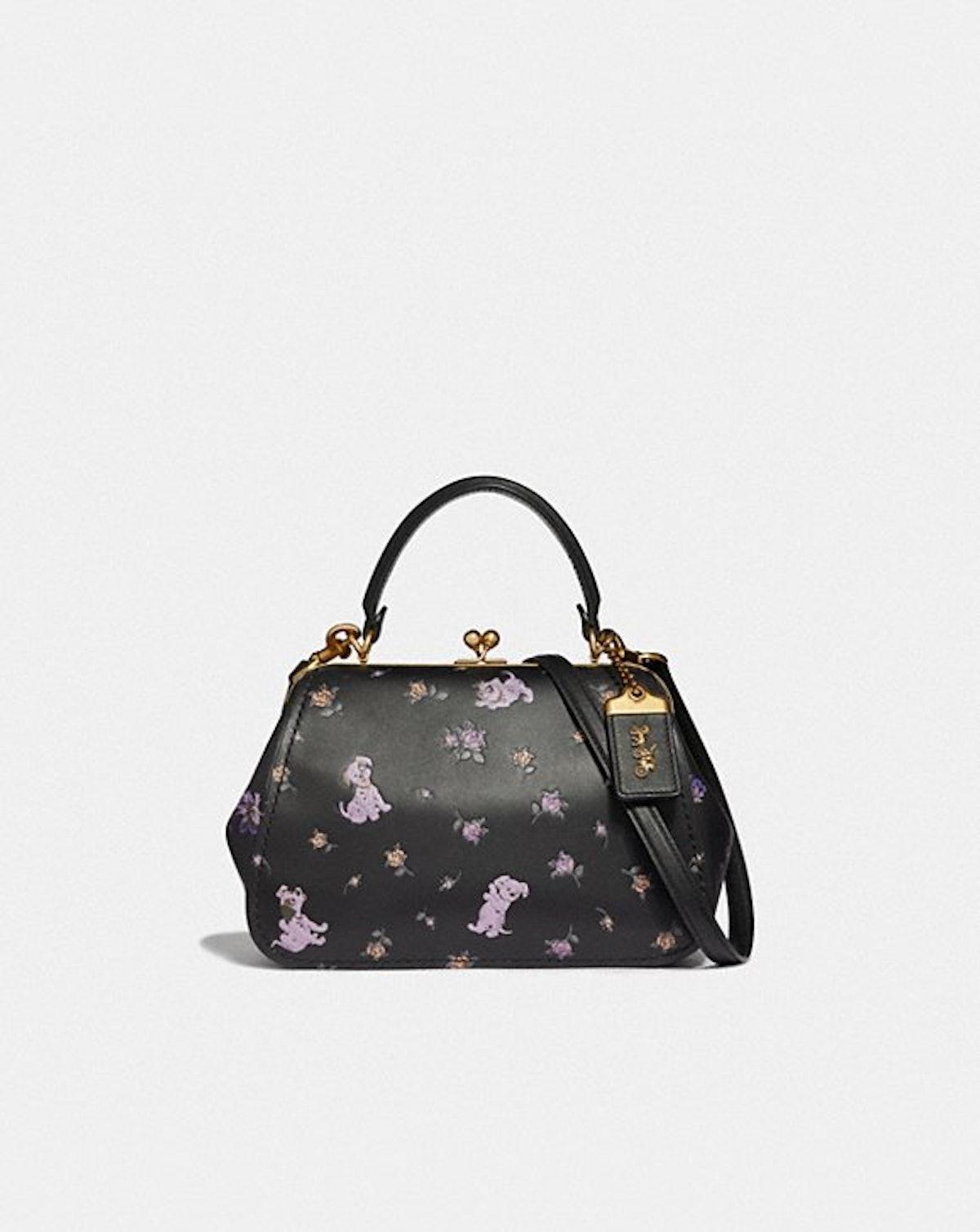 Disney X Coach Frame Bag 23 With Dalmatian Floral Print