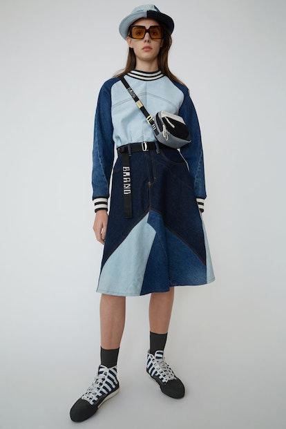 Patchwork denim skirt indigo blue