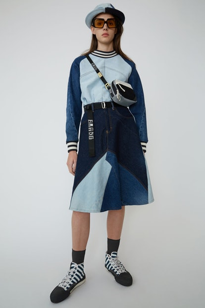Patchwork denim skirt indigo blue