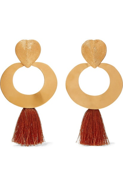 Olive Trees Fringed Gold-Tone Earrings