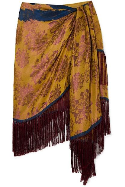 Wrap-Effect Fringed Silk-Jacquard Mini Skirt