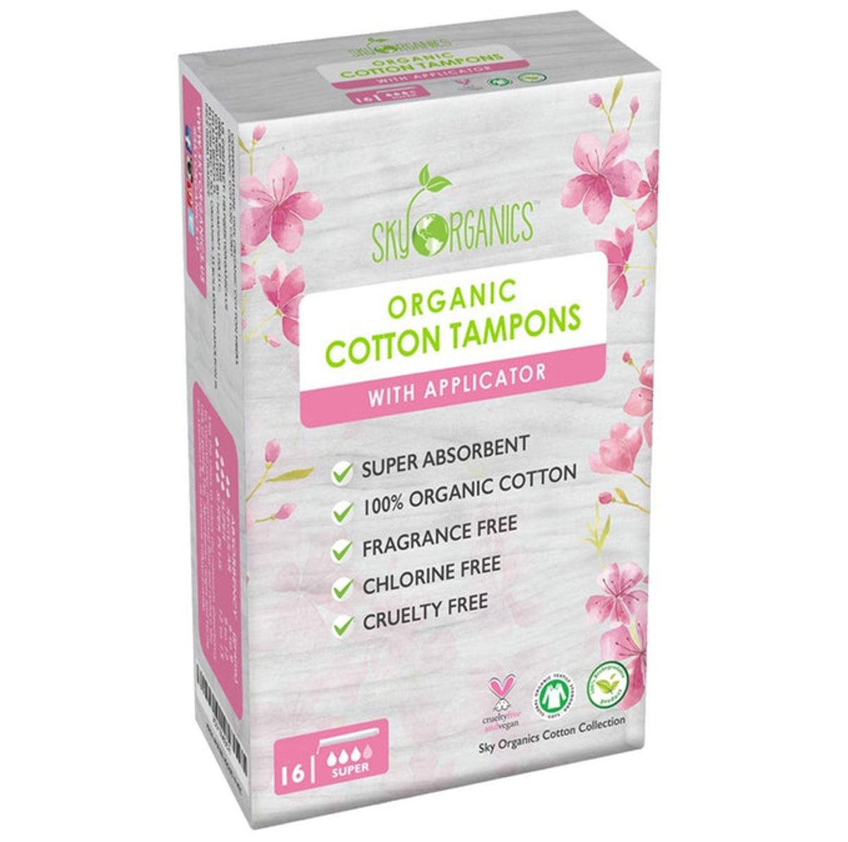 Sky Organics Cotton Super Tampons With Biodegradable Applicators (16 Count)