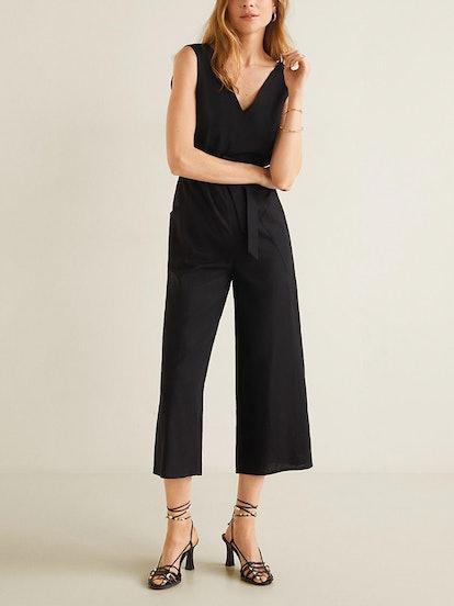 Long Linen-Blend Jumpsuit