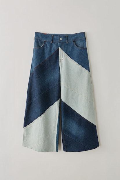 Patchwork culottes indigo blue