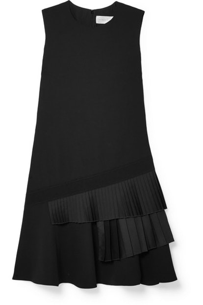 Asymmetric Pleated Crepe Mini Dress