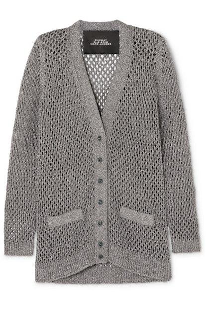 Metallic Open-Knit Cardigan