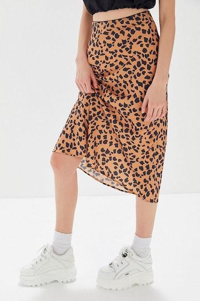 Rowan Leopard Print Satin Slip Skirt