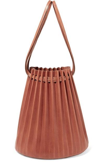 Pleated Leather Bucket Bag