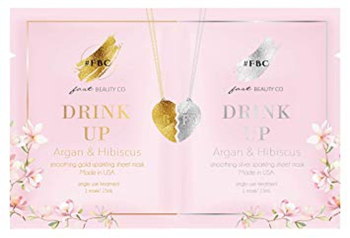 Fast Beauty Co. BFF Drink Up! Smoothing Gold & Silver Face Masks With Argan & Hibiscus