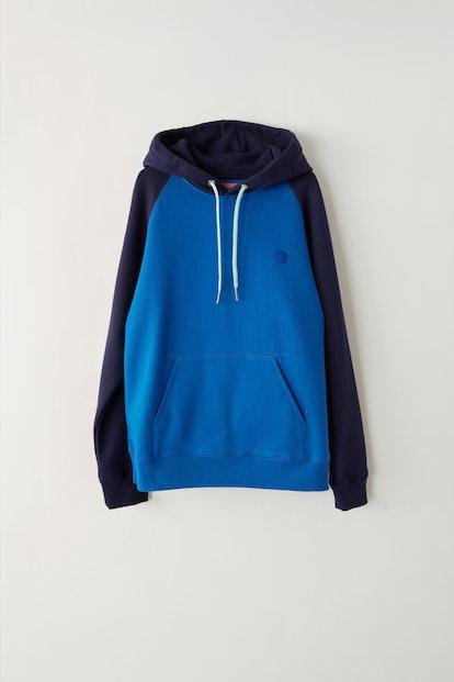 Two-tone hooded sweatshirt ocean blue