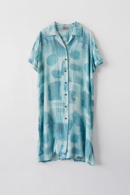 Printed shirt dress palace blue/sand beige