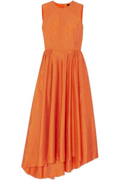 Damar Asymmetric Taffeta Maxi Dress