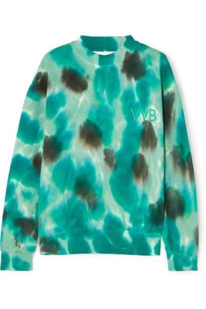 Oversized Embroidered Tie-Dyed Cotton-Fleece Sweatshirt