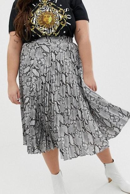 Pleated Satin Midi Skirt in Gray Snake Print