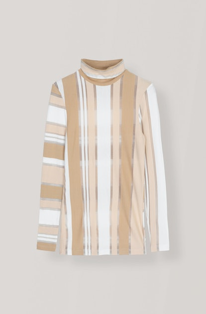 Striped Jersey Rollneck Top