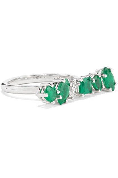 Kimberly McDonald 18-Karat White Gold, Emerald And Diamond Ring