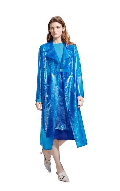Nisa Embossed Plastic Trench Coat