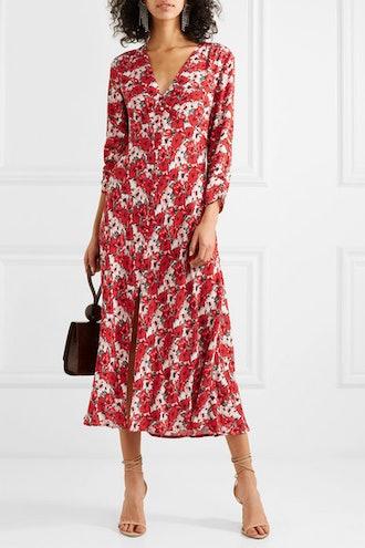 Katie Floral-Print Crepe de Chine Midi Dress