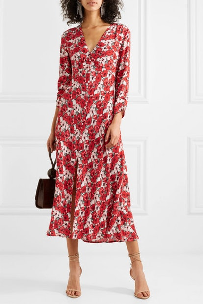 Katie Floral-Print Crepe de Chine Midi Dress