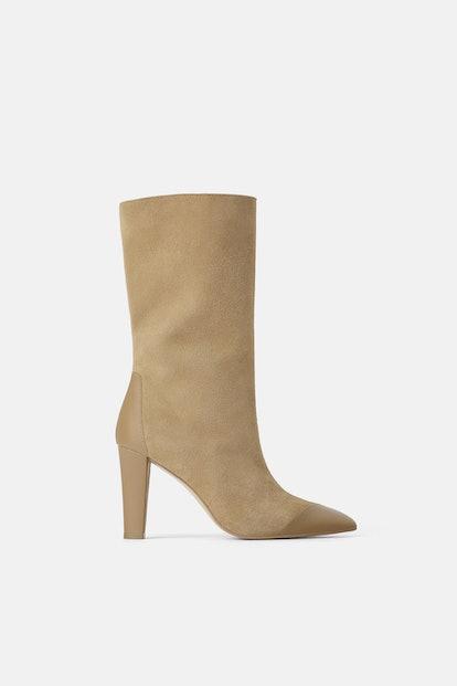 Split Leather Heeled Boots