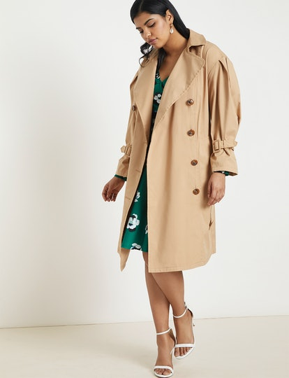 Puff-Sleeve Trench Coat