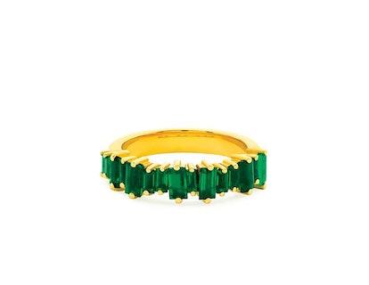 18K Emerald Baguette Half Band