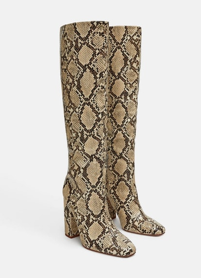 Heeled Snakeskin Print Boots