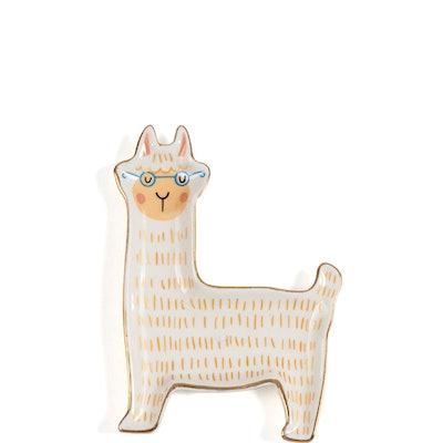 Zinnea Llama Jewelry Tray, White