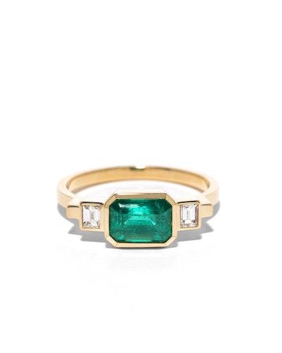Emerald & Baguette Diamond Ring
