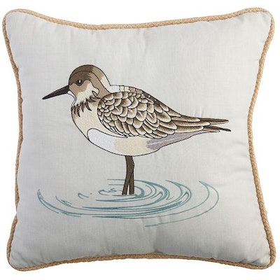 Sandpiper Embroidered Pillow