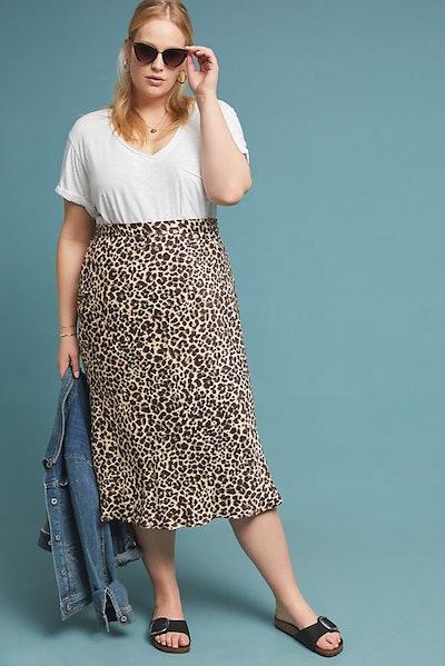 Maeve Bias Satin Midi Skirt