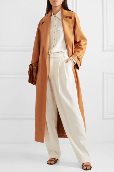 Belted Faux Leather Trench Coat