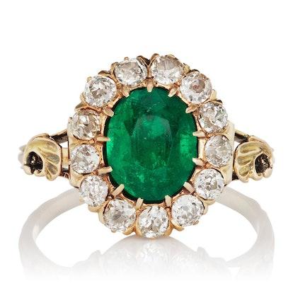 Carla Antique Emerald Halo Engagement Ring