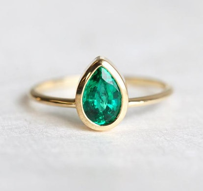 MinimalVS Pear Emerald Solitaire Bezel Ring in 14k Solid Gold